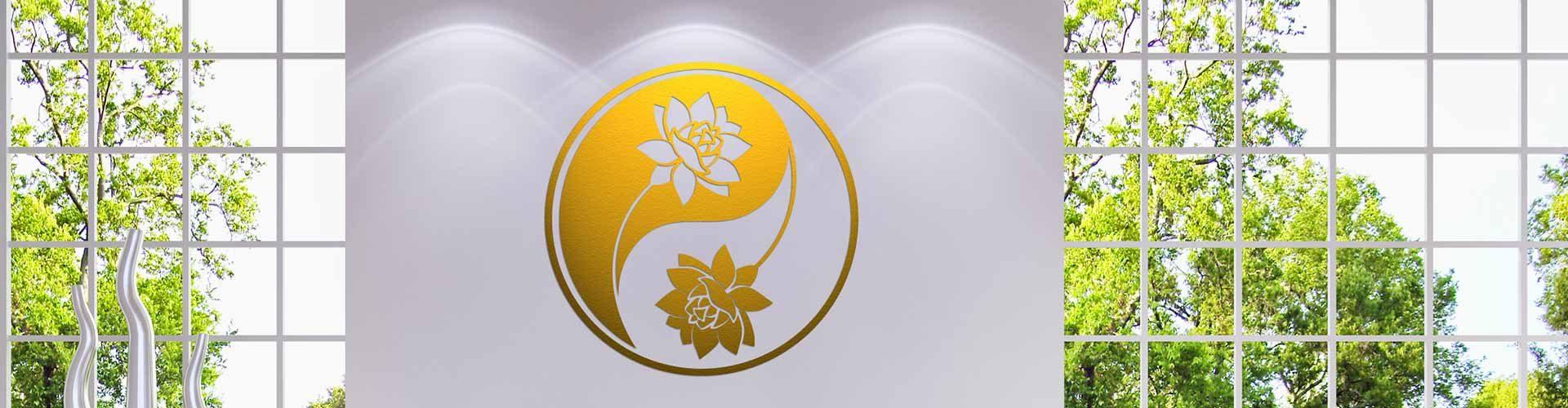 Yin & Yang Lotus Wandtattoo