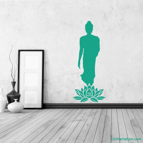 Wandtattoo walking Buddha Lotus OM