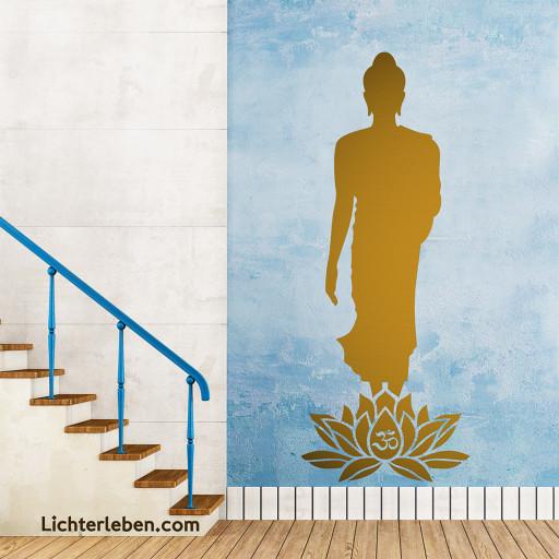 Wandtattoo walking Buddha Lotus OM
