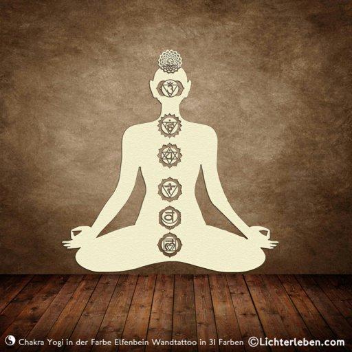 Yogi mit 7 Chakras Wandtattoo