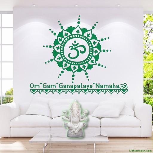 Ganesha Mantra Wandtattoo dein Glücksgott